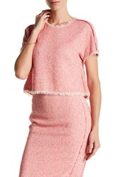 Rebecca Taylor Short Sleeve Tweed Ruffle Shirt Pink