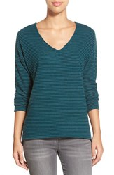Women's Gibson 'Yummy Fleece' High Low V Neck Pullover Teal Stripe
