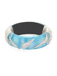Alexis Bittar Lucite Origami Swarovski Crystal And Blue Opal Hinged Bracelet