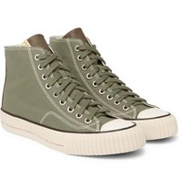 Visvim Skagway Leather Trimmed Canvas High Top Sneakers Green