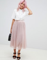 Amy Lynn Plearted Tulle Midi Skirt Pink