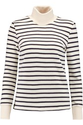 Petit Bateau Striped Cotton Terry Turtleneck Sweater White