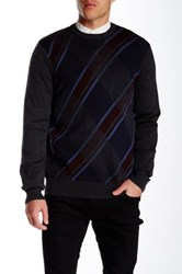 Perry Ellis Diagonal Plaid Crew Neck Sweater Gray