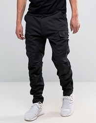 Dxpe Chef Cargo Trousers In Black With Military Patches Black