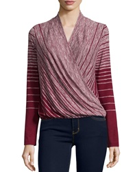 Max Studio Striped Wrap Front Long Sleeve Tee Oxblood Iv