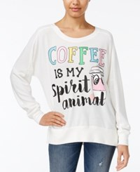 Rampage Juniors' Coffee Oversized Graphic Sweatshirt Cloud Dancer