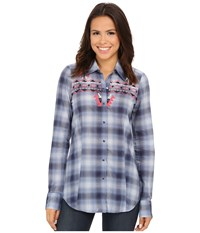 Roper 9900 Ombre Plaid Shirt Blue Women's Clothing
