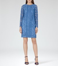 Reiss Suki Womens Lace Shift Dress In Blue