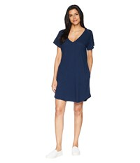 Allen Allen Short Sleeve Vee Dress With Pockets Lapis Navy