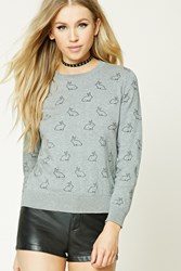 Forever 21 Bunny Print Sweater Heather Grey Black