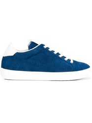 Leather Crown Perforated Sneakers Blue