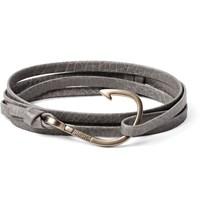 Miansai Grained Leather And Gold Plated Hook Wrap Bracelet Gray