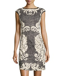 Maggy London Faux Leather Trim Baroque Print Dress Taupe Black