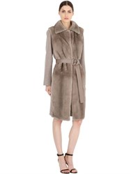 Salvatore Ferragamo Wool And Cashmere Coat With Mink Fur
