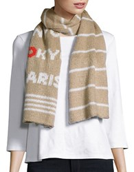 Wooden Ships Patterned Knit Scarf Cashew