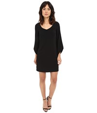 Laundry By Shelli Segal Crepe T Body With 3 4 Tulip Sleeve Black Women's Dress