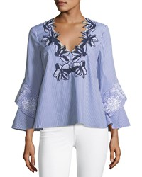 Tanya Taylor Gail Striped V Neck Blouse With Engineered Lace Embroidery Blue White