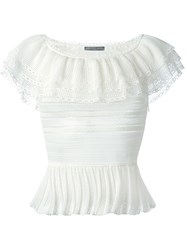 Alexander Mcqueen Victorian Lace Knit Top White