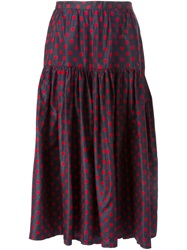 Yves Saint Laurent Vintage Polka Dot Print Skirt Red