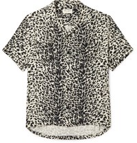 Saint Laurent Camp Collar Leopard Print Brushed Twill Shirt Black