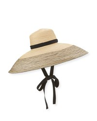 Lola Hats Wide Brim Raffia Sun Hat Black Natural