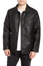 Members Only Logo Embossed Faux Leather Jacket Black