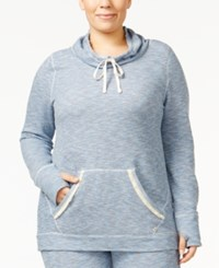 Lucky Brand Plus Size Brushed Terry Pajama Sweatshirt Blue