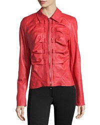 Escada Short Leather Zip Jacket Lacquer