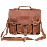 Mahi Leather Mini Harvard Satchel Messenger Bag Handbag Clutch Bag In Vintage Brown