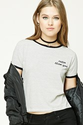 Forever 21 Cuter Than You Graphic Tee Cream Black