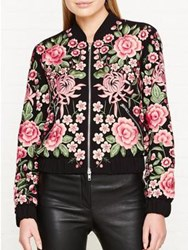 Needle And Thread Embroidered Rose Bomber Jacket Black Pink Black Pink