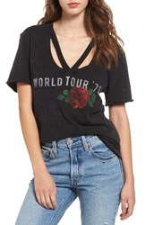 Sun And Shadow Women's World Tour Ripped Neck Tee
