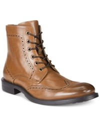 Unlisted By Kenneth Cole Men's Blind Sided Wingtip Perforated Boots Men's Shoes Cognac