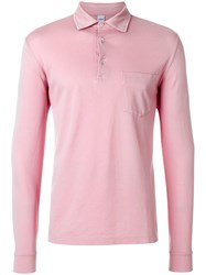 Aspesi Longsleeved Polo Shirt Pink And Purple