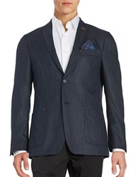 Tallia Orange Textured Two Button Jacket Navy