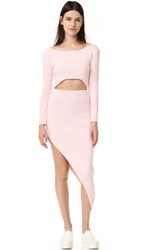 Baja East Long Sleeve Asymmetrical Dress Light Pink
