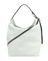 Proenza Schouler Large Croc Embossed Leather Hobo Bag White