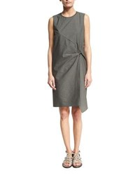 Brunello Cucinelli Sleeveless Gathered Crewneck Dress Gray