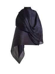 Issey Miyake Madame T Pleated Scarf Navy