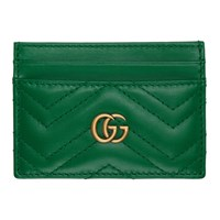 Gucci Green Quilted Gg Marmont Card Holder
