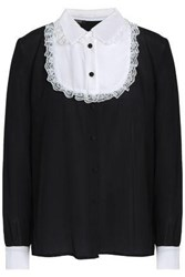 Raoul Lace Trimmed Silk Crepe De Chine Shirt Black