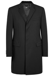 Hugo Boss Black Nabor Wool And Mohair Blend Coat Black