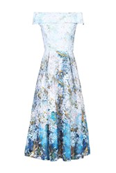Jolie Moi Lace Printed Midi Prom Dress Blue