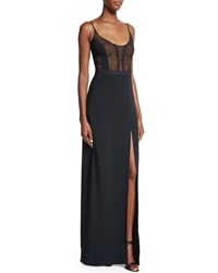 Narciso Rodriguez Sleeveless Lace Bodice Gown Black