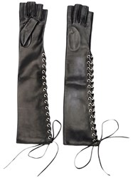 Manokhi Long Laced Gloves Women Calf Leather 7 Black