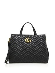 Gucci Gg 2.0 Marmont Matelasse Leather Top Handle Tote Black