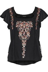 Love Sam Embellished Cotton Gauze Top Black