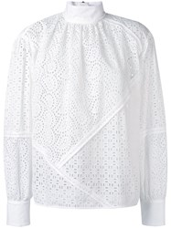 Msgm High Neck Broderie Blouse Women Cotton 38 White