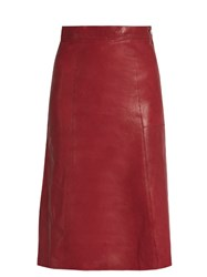 Vanessa Bruno Doma A Line Leather Skirt Burgundy