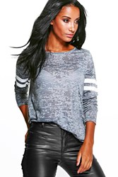 Boohoo Burnout Baseball Long Sleeve T Shirt Charcoal